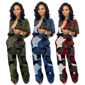 Designer Spring Women Camouflage Jumpsuits Print Long Sleeve Button Jumpsuit Turn-down Neck Military Straight Sashes Romper Casual Playsuit