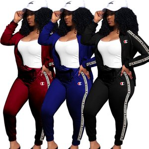 Champion Brand Autumn Winter Long Sleeve Tracksuits Zipper Jackets Tights Legging 2PCS Jogger Set Ladies Sweatsuit Designer Sportswear C8110 on Sale