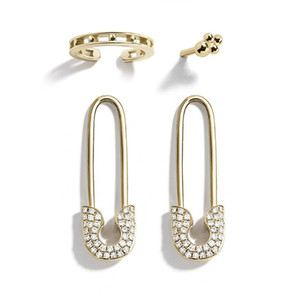 Wholesale silver plated safety pins resale online - Unique Design Imitation Pearl CZ Paperclip Safety Pin Stud Earring for Women Girls Gold Punk Body Piercing Earrings Accessories