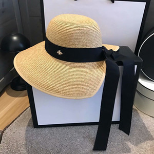 Wholesale plain straw resale online - INS Summer Women Straw Hat Fashion Sun Protection Beach Hats Personality Wide Brim Hats with Ribbon
