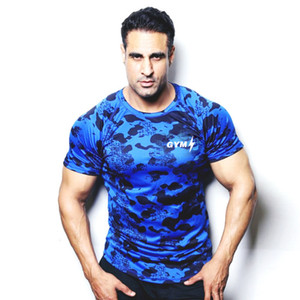 Wholesale Camouflage T Shirt Outdoor Fitness Sports Summer Mens Blue Gym Running Workout Training Clothes Short Sleeve Quick Dry Breathable Sportswear