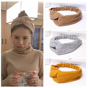 Wholesale Vintage Modern Style Elastic Women Turban Headbands Twisted Cute Hair Band Accessories korea fashion head wraps