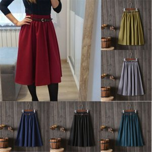 Wholesale 2019 Women Retro Stretch High Waist Skater Flared Pleated Swing Skirt Dress Belt Ladies Solid A line Simple Summer Skirts Female