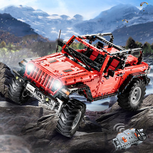 Wholesale CADA C61006 RC Block Toy Adventurer Double Door Vehicle Off Road Cars Wireless Remote Control LED Light Design Toy Gfts