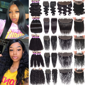 Brazilian Human Hair Bundles With Closure Remy Virgin Hair Deep Wave Curly Bundles With Lace Frontal Human Hair Weave With 360 Lace Frontal