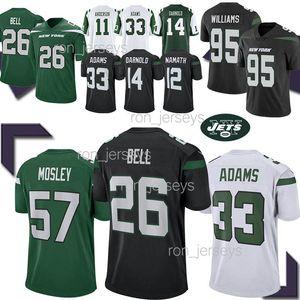 7a13bff7f Jets 26 Le Veon Bell New York jerseys 33 Jamal Adams 57 MOSLEY 14 Sam  Darnold 12 Joe Namath Football Jersey 2019