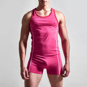 Wholesale 2019 Hot New Brand Cotton Sexy Shapers Men Undershirt Singlet Excerise Body Suit Mens Bodywear Unitard Boxer Underwear Man Bodysuit Leotard