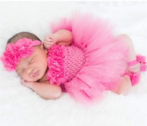 Wholesale Cute Baby Tutu Dress Set Infant Girls Crochet Tulle Dress Tutus with Flower Headband and Foot Ring Newborn Birthday Party