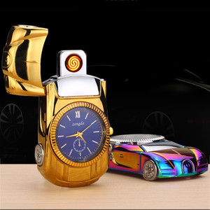unique design 3 in 1 super car model electric watch lighter USB Rechargeable cigarette Lighter Windproof coil heater gold black blue w0250