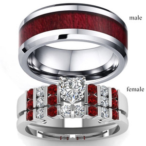 Wholesale Couple Rings His and Hers Heart cut Zircon Garnet Silver Diamond Womens Wedding Ring Wood Inlay Stainless Steel Mens Ring