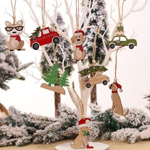 Wholesale Wooden Christmas Tree Small Animal Car Pendant Home Decoration Gift Accessories Christmas Decorations Carved Wood Chips
