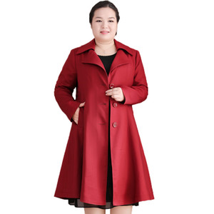 Large Size 10XL Women Long Trench Coat 2019 Autumn Windbreaker Mother 200 Pounds Loose Casual Oversize Outwear LP102 on Sale