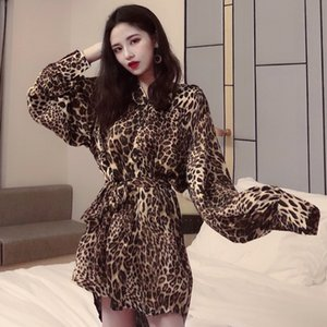 Wholesale Lazy Strap Shirt Female Autumn dress new Korean version medium vintage long sleeved lapel leopard print shirt