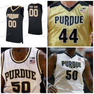 personalizado camisa de basquete de purdue venda por atacado-Carsen Edwards Personalizado Purdue Boilermaker Aaron Wheeler Tommy Luce Matt Haarms Preto Branco Costurado NCAA College Basketball Jerseys