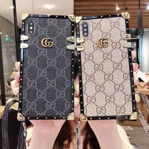 Wholesale luxury designer phone cases for iPhone plus X XR XS MAX Brands Fashion PU leather case TPU frame shatter resistant mobile phone case