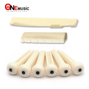 1 Set MF 6 String Plastic Acoustic Guitar Bridge Nut Saddle + Slotted Bridge Pin with Dots ABS Plastic Guitar Parts Accessories