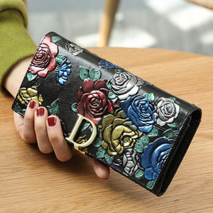 Wholesale 2019 fashion hot style Genuine leather long lady purse original retro national style three dimensional printed wallet luxury designer brand