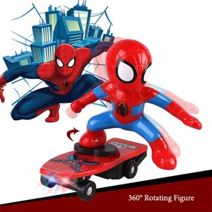 Wholesale Spiderman Scooter Racing Car Superhero Marvel The Avengers Captain America Electronic Car Electric Music Toys Action Figure Led Collection