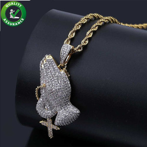 Wholesale Iced Out Chains Cross Pendant Designer Necklace Mens Hip Hop Jewelry Luxury Bling Rapper Gold Chain Pandora Style Charm Prayer Gesture Gift