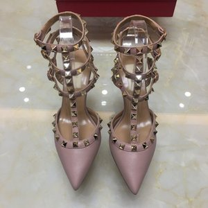 Wholesale women high heels Designer dress shoes party rivets girls sexy pointed toe shoes buckle platform pumps wedding shoes black white pink color
