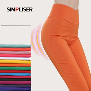 Wholesale Simpliser Stretch Leggings For Women High Waist Colors Women Pencil Pants White Black Femme Trousers Big Size Ladies Pantalon C19040401