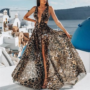 Hot Chiffon Leopard Party Dresses Sexy Spaghetti Cutaway Sides Women Backless Club Wear Vintgae Beach Bohemian Prom Drsses on Sale