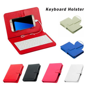 Ouhaobin PU Leather Wired Keyboard Flip Holster Case Wired Keyboard Flip Holster for 4.8-6.0Inch OTG Android Phone