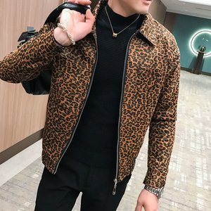 Wholesale Leopard Printed Jackets Mens Autumn Mens Coat Jackets Zipper New Fashion Designer Hombre Chaqueta Korean Streetwear
