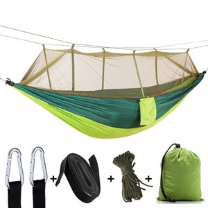 Wholesale Factory direct outdoor parachute cloth hammock with mosquito net ultra light nylon double army green camping aerial tent