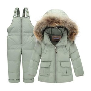 Wholesale Children Winter Suits Boys Girls Duck Down Jacket Bib Pants Clothing Set Thermal Kids Warm Thicker Coat Snow Wear Parka