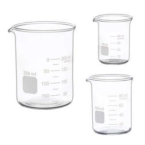 LAb Hot sale Glass Measuring Low Form Beaker Set 50ml 100ml 250ml Glass Graduated Beaker Set