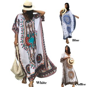 Wholesale Bsubseach Women Bathing Suits Cover Up Ethnic Print Half Sleeve Kaftan Beach Maxi Dress