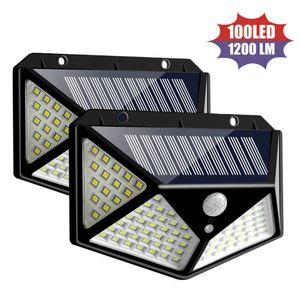 Solar Light Outdoor Waterproof 4 Side Solar Sunlight Powered Lamp PIR Sensor Wall Light for Garden Decor