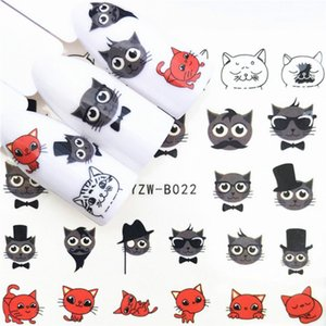Wholesale 1 Pcs Kawaii Black Red Cat Water Transfer DIY Nails Art Nail Polish Long-Lasting Nail Polish Girl Cute Decoration Tool