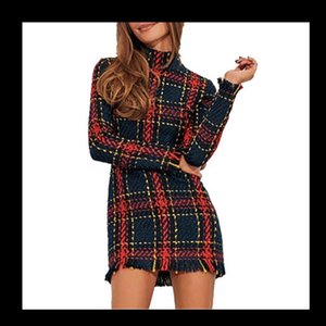 Wholesale Women Dresses Gray Grid Designer Winter Plaid Printed Dress Casual Ladies Bodycon Shirts New Arrival Women Clothing