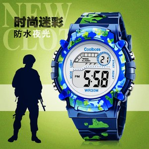 Wholesale Navy Blue Children s Watch Kids LED Digital Wristwatch Brave Faith Boy Girl Alarm Clock Baby Gift For Student Age