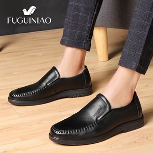 Wholesale 2019 Men s Breathable Casual shoes FUGUINIAO Genuine Leather perforated Men black Business Shoes Cowhide