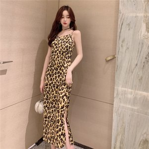 Wholesale 2019 Summer New Women s Dress Korean Fashion Retro Leopard Sling Dresses Woman Party Night Sleeveless Mid Calf V Neck