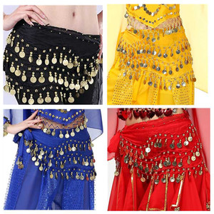 Wholesale Belly Dance Chiffon Hip Scarf Woman Coins Sequin Waist Belt Girls Stage Belly Dancing Skirt Costume Hip Wraps for Women