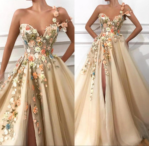 Wholesale 2019 One Shoulder Tulle A Line Long Prom Dresses 3D Floral Lace Applique Beaded Split Floor Length Formal Party Evening Dresses BC0684
