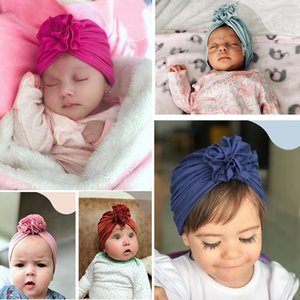 Wholesale ins New kids Folded Flower Hat for Children Newborns baby Cotton Indian Turtleneck broke flower Hat