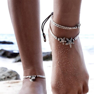 Wholesale Vintage Bracelet Foot Jewelry Retro Anklet For Women Girls Ankle Leg Chain Charm Starfish Beads Bracelet BB240