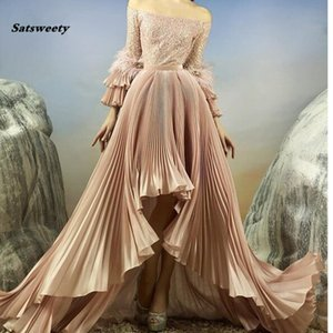 Wholesale Saudi Arabic 2019 High Low Evening Dresses Full Sleeves Shiny Sequined Pleated Long Evening Gowns Feather Vestido Longo