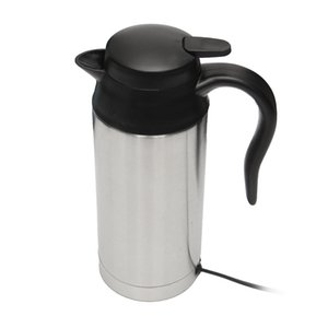 Wholesale electric heated coffee mug resale online - Stainless Steel V Electric Kettle ml In Car Travel Trip Coffee Tea Heated Mug Motor Hot Water For Car Or Truck Use hot