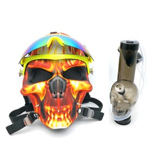 Wholesale Gas Mask Bong Colorful Skull silicone Bongs Water Shisha with Acrylic Smoking Pipe Sillicone Mask Hookah Tobacco Tubes Oil Rigs Smoking Pipe
