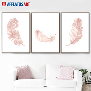 Wholesale Watercolor Pink Feather Wall Art Canvas Painting Minimalist Nordic Posters And Prints Wall Pictures For Living Room Decor