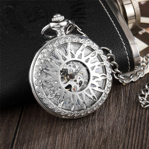 Wholesale Unique Silver Steampunk Sun Flower Hollow Design Mechanical Pocket Watch Male Clock Retro Skeleton Hand Wind Watches FOB Chain