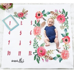 Wholesale Ins Baby Girl Boy Photography Blanket Boutique store supplies Floral Newborn Photography Mat Months Photo Blankets Accessories