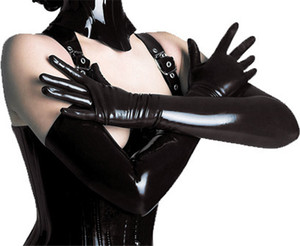 Wholesale Adult Sexy Long Latex Gloves Black Ladies Hip pop Fetish Faux Leather Gloves Clubwear Sexy Catsuit Cosplay Costumes