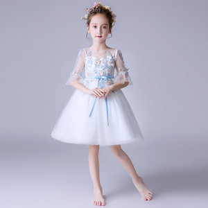 Wholesale Best selling explosion girl white lace embroidered party dress white piano costume small host costume pettiskirt flower girl wedding dress